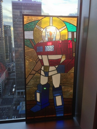 St. Optimus of Prime, Craig Kovatch's stained glass rendition.